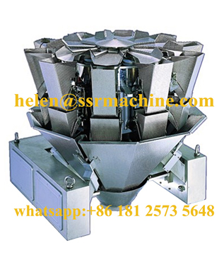 10 head multihead weigher with dimpled buckets for sticky food package